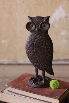 {Cast Iron Owl Statue} would be cool as a door stopper! if I saw this one i would be forced to get one more owl Cast Iron, It Cast, Black And White Owl, Owl Ornament, Antique Farmhouse, Animal Totems, Owl Art, Cute Owl, Night Owl