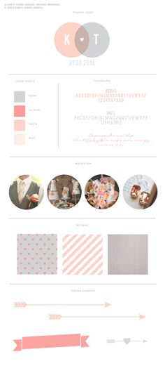 Wedding Branding Board with Circle Wedding Logo, heart, arrows, Invitation, Peach, Coral, Grey,  Business Identity, Logo, Branding Board by Elizabeth Andres Designs in Dubai.