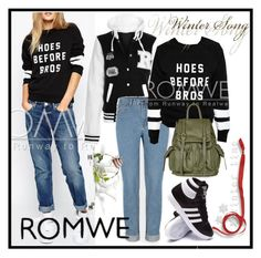 """""""Sweatshirt Romwe"""" by aida-1999 ❤ liked on Polyvore featuring moda, adidas y Topshop"""