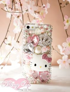 Kawaii Bling Japanese Hello Kitty DIY Decoden Supply Kits with Metallic Design Case! Rose Pink Gems and Pearl Beads surrounded with Cabochons and Roses. Perfect for customize cellphone cases like iPhone 5, Samsung Galaxy Case, Cellphone case, laptop etc!  Packaged in a cute light pink bag, perf...