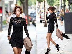 Slimming High Neck Ladylike Puff Sleeve Black Lace Dress For Women (BLACK,ONE SIZE) China Wholesale - Sammydress.com