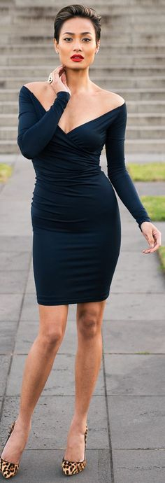 Navy Bodycon Off Shoulder Heart Shaped Cocktail Mini Dress by Micah Gianneli