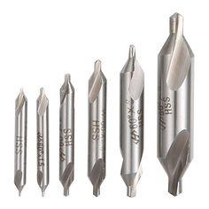 Binoax 6pcs/set Electrical HSS Combination Center Drills Countersinks Bit Set Lathe Mill 60 Degree Angle 5/3/2.5/2/1.5/1mm #W437