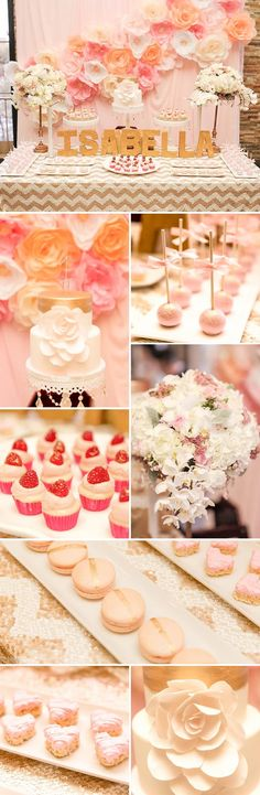 Gourgeous gold and pink first birthday party for a little girl. Stunning flower backdrop! - via On to Baby