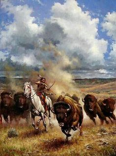 A Native American ~ Hunting Buffalo.   (By: Don Oelze.)