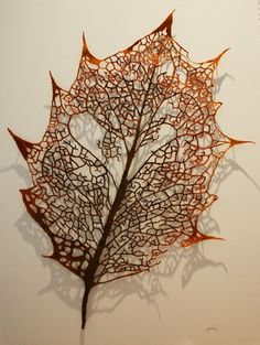brown - Leaf Skeleton (Holly) - embroidery thread, pins, glass rods on archers paper - Meredith Woolnough Free Machine Embroidery, Embroidery Art, Embroidery Designs, Textile Fiber Art, Textile Artists, Textile Sculpture, Shibori, Water Soluble Fabric, Leaf Skeleton