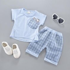 Wholesale Children's Short Sleeve Shirt Boy's Suit Embroidered Carrot Trousers Boutique Children's Wear Agent from Our website with high quality and fast shipping worldwide. Baby Boy Outfits, Kids Outfits, Baby Boy Clothing Sets, Frocks For Girls, Boys Suits, Kids Shorts, Summer Baby, Kids Wear, Outfit Sets