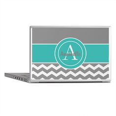 Gray Teal Chevron Monogram Laptop Skins on CafePress.com