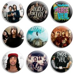 Pierce The Veil Pinback Button Pin Badge (Pack of 9) ($4.99) ❤ liked on Polyvore featuring pierce the veil, pins, accessories, band and buttons