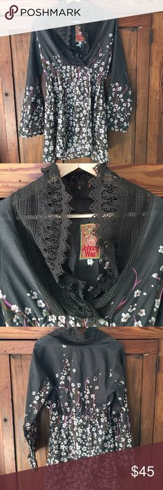 Johnny Was boho tunic Johnny Was floral tunic with lace shawl collar. Elastic father under the bust for a flattering fit. Gorgeous top! No trades or pp please. Johnny Was Tops Tunics