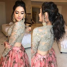 Messy pony by me and makeup by for this ethereal beauty Indian Wedding Fashion, Indian Bridal Outfits, Indian Fashion, Designer Bridal Lehenga, Bridal Lehenga Choli, Floral Lehenga, Designer Party Wear Dresses, Indian Designer Outfits, Lehenga Designs