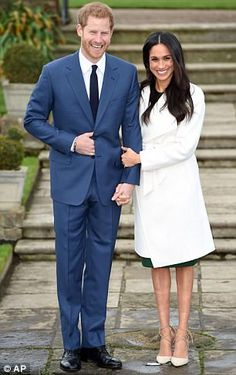 Prince Harry and Meghan Markle after their engagement announcement today at Kensington Pal...