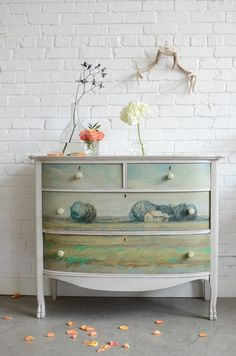 A Knack and Annie Koelle collaboration: Hand painted chest of drawers named Helianthus. $900.00, via Etsy.  woohooo!