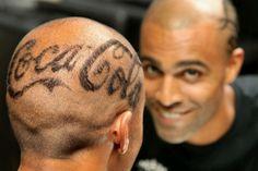 Coca Cola shaven head