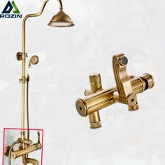 """Luxury Wall Mounted 8"""" Rinfall Shower Faucet Bathroom Brass Antique Style Shower Panel With Hand Shower"""