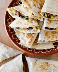 Zucchini, Corn, Black-Bean, and Jack-Cheese Quesadillas Recipe