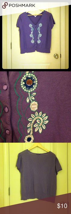 Dress Barn cardigan (size 14/16W) Lovely purple cardigan from Dress Barn size 14/16W. Embroidery and sequins subtly dot the front with cite fabric-covered buttons. Great for your closet! Dress Barn Sweaters Cardigans