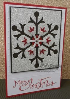 """Snowflake card by Michelle Martin. Perfect way to use up the """"negatives"""" from the Snow Flurry Die. :) #SnowFlurryDie #stampinup"""