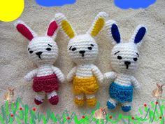 3 Little Bunnys, Toys Set, Crochet and Stuffed Amigurumi Bunnys