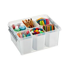 LOVE these storage bins. I keep art supplies for my kid neatly organized in them, andv they stack nicely. The inserts are genius.  The Container Store > Medium Smart Store System Tote.