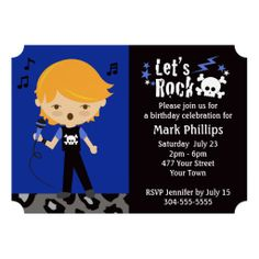 Rock Star Boy Birthday Party Invitations