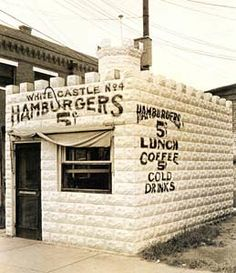 Wichita, KS - 1921: Edgar Ingram  borrowed $700.00 to open the first White Castle with his partner J. Walter Anderson. Price of a hamburger 5 cents.  http://www.kipnotes.com/FoodService.htm