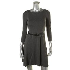 ANNE KLEIN New w/ Tags Womens Gray Dress/Belt Petites 10P 3/4 Length Sleeves #AnneKlein