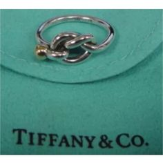 Pre-owned  Tiffany & Co. 18k & Sterling Silver Love Knot Ring Size 6 (395 CAD) ❤ liked on Polyvore featuring jewelry, rings, accessories, knot jewelry, 18k jewelry, sterling silver jewelry, tiffany & co jewellery und pre owned jewelry