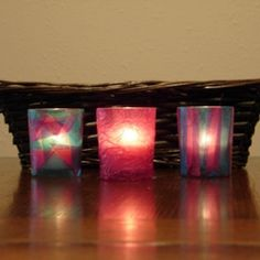 Fun and cute idea    Making stained glass candle votives is a fun and easy summer craft for kids and adults!    My daughter and I recently made these stained glass votives...
