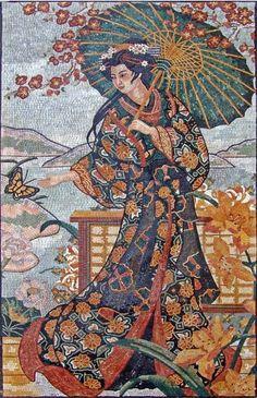 Charming Japanese Geisha Marble Mosaic Mural