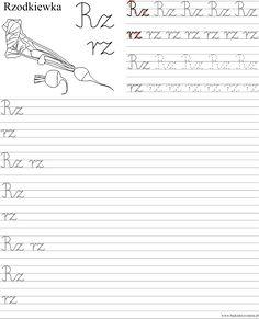 Szablon z nauką pisania dwuznaku Rz rz Polish Language, Worksheets For Kids, Cursive, Sheet Music, Classroom, Aga, Education, Children, Speech Language Therapy