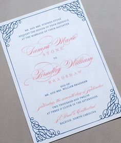 Wedding Invitation Navy and Pink Wedding by WhimsyBDesigns on Etsy