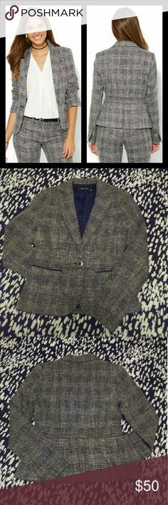 NY&Co. 7th Avenue Suit Jacket - NWOT New York & Co. jacket from 7th Avenue Suiting Collection - Signature Fit - in black plaid. Versatile jacket looks great paired with black dress pants or a pencil skirt! Never worn jacket is new without tags, but still has the spare button sewn to the care tag. New York & Company Jackets & Coats Blazers