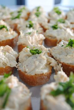 Thin french baguette topped with chicken mayonnaise and herb