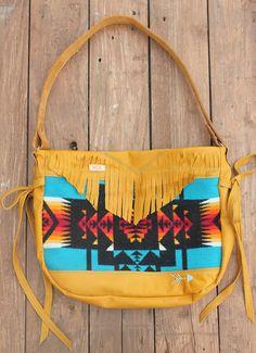 Rad golden brown leather Bag w/ rocking' Pendleton wool tribal print, fringe, hand-stitched arrow, side ties & handmade tassel