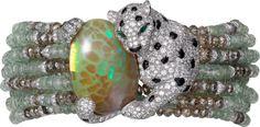 High Jewelry Panthère de Cartier bracelet White gold, opal, chrysoberyls, emeralds, onyx, brown diamonds, diamonds