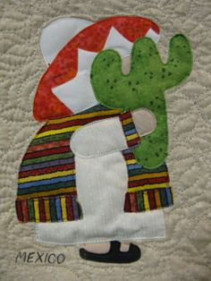 Mexico Sunbonnet Sue block at MooseStash Quilting. Design by Debra Kimball - International Sunbonnet Sue