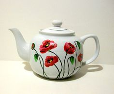 Hand Painted Tea Pot  Poppies Teapot   Painted  6 Cup Tea Pot Christmas,Mothers Day, Birthday, House Warming Gift