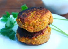 <p>In this recipe, I used sweet potatoes instead of potatoes because the former is less starchy and far more nutritious. To add to the healthfulness, I threw in handfuls of kale. And then, to accompany these patties, I made a spicy chickpea sauce.</p>