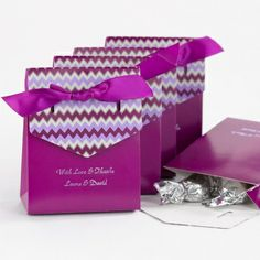 Pocket Watches Chevron Tent Favor Boxes Pink Purple Black Teal Wedding Parties Graduations Terrific Value