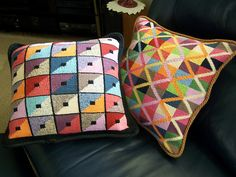 Ravelry: Project Gallery for Triangle Squares Cushion pattern by Kaffe Fassett