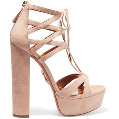 Aquazzura Beverly Hills Plateau suede platform sandals (€470) ❤ liked on Polyvore featuring shoes, sandals, heels, zapatos, saltos, high heels sandals, strappy platform sandals, lace-up heel sandals, block heel shoes and heeled sandals