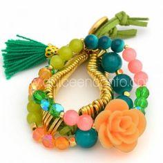 Pulsera Rosa Hermosa   www.dulceencanto.com #accesorios #accessories #aretes…