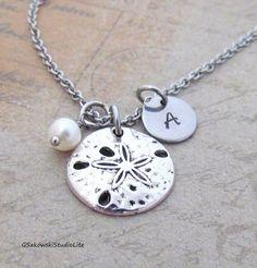 Sand Dollar Charm Necklace Personalized by gsakowskistudiolite