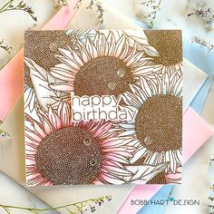 Sunny Days in Stamptember! | Bobbi Hart♡Design Sunflowers Background, Simon Says Stamp, Pretty Cards, Happy Birthday Cards, Sunny Days, Cardmaking, Color Schemes, Stencils, Paper Crafts