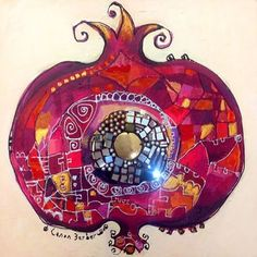 """Red of Pomegranade"" by Canan Berber Mandala Art, Pomegranate Art, Turkish Art, Inspiration Art, Jewish Art, Art Design, Granada, Contemporary Artists, Fiber Art"