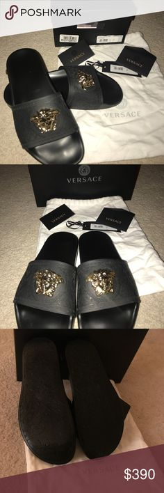 Authentic Black Versace Baroque Medusa Slides Authentic Black Versace slides with gold medusa head. 100% authentic. Purchased from the Versace store. Worn once. I'm only selling them because they're too small. Comes with authenticity card, box and the white Versace bag shown in pictures. Versace Collection Shoes Sandals