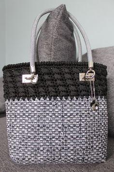 Half crochet and half basket fabric bag. by EndlessknotByAgnes