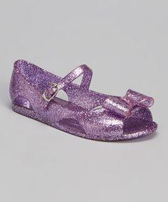 Look at this #zulilyfind! Purple Glitter Anna Bow Mary Jane - Kids by Chemistry #zulilyfinds