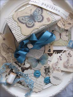 ❥ French Flea Market Altered Matchbox -Butterflies - Papillon